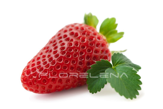 Fresh strawberry with leaf isolated on white background