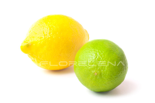 Close-up of fresh green lime and lemon
