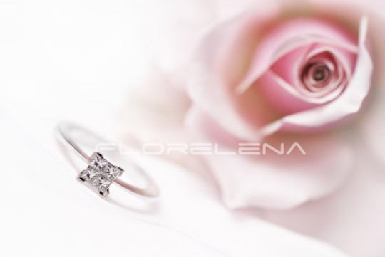 Modern diamond engagement ring with pink rose